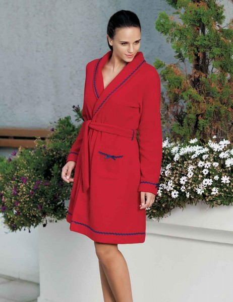 Mel Bee - Mel Bee Fleece Morning Gown Red MBP22352-1