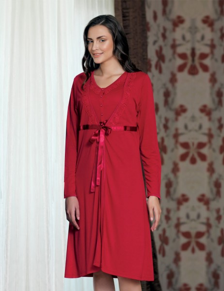 Şahinler - Sahinler Night Gown & Morning Gown Set Red (Suprise Gift) MBP21628-1