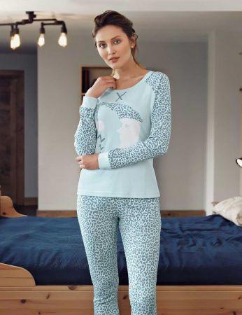 Mel Bee - Mel Bee Ay Dede Baskılı Pijama Takımı Mavi MBP23613-2