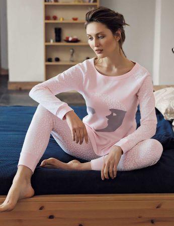 Mel Bee - Mel Bee Ay Dede Baskılı Pijama Takımı Pembe MBP23613-1
