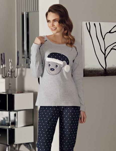 Mel Bee - Mel Bee Ayıcıklı Pijama Takımı Gri MBP23611-1
