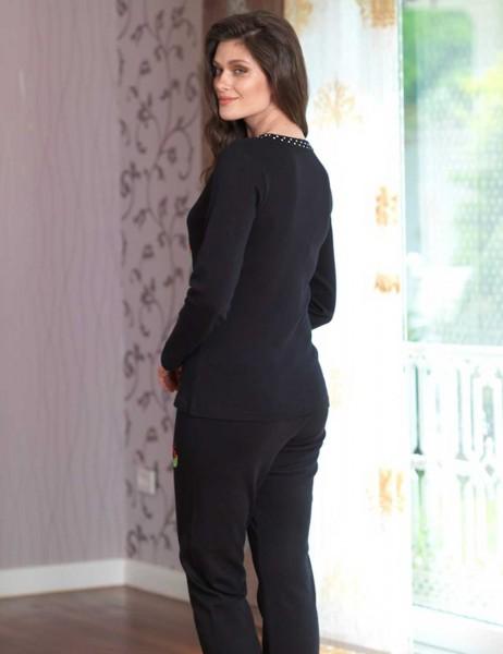 Mel Bee - Mel Bee Baskılı Bayan Pijama Takımı Siyah MBP23004-1 (1)