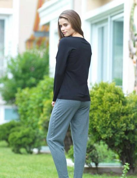 Mel Bee - Mel Bee Baskılı Bayan Pijama Takımı Siyah MBP23009-1 (1)