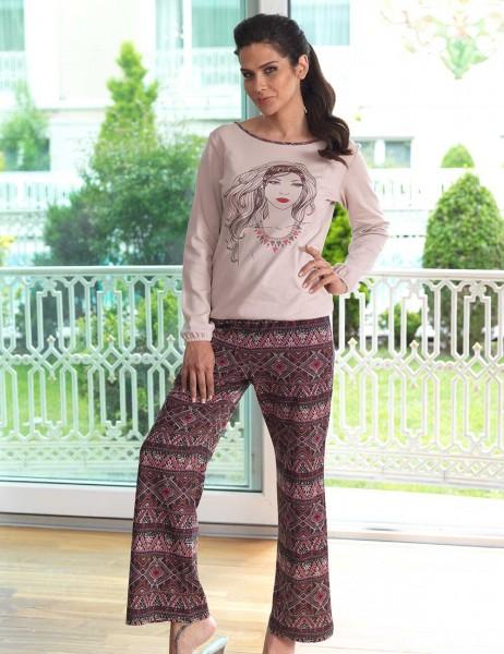 Mel Bee - Mel Bee Baskılı Bayan Pijama Takımı Vizon MBP23018-1
