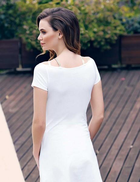 Mel Bee - Mel Bee Baskılı Elbise Beyaz MBP23303-1 (1)