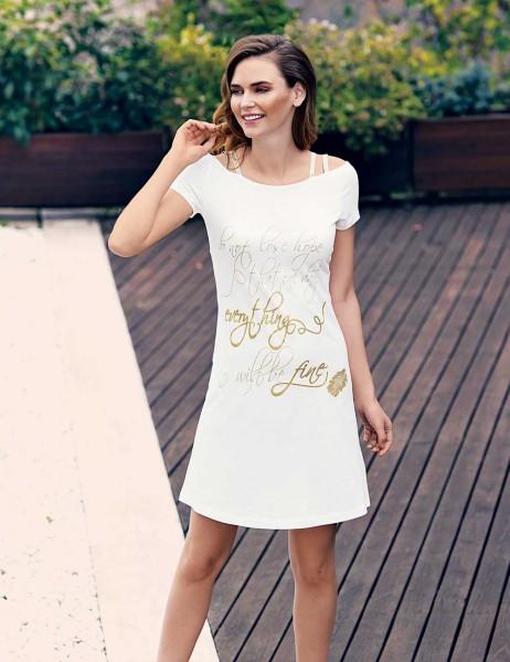 Mel Bee - Mel Bee Baskılı Elbise Beyaz MBP23303-1