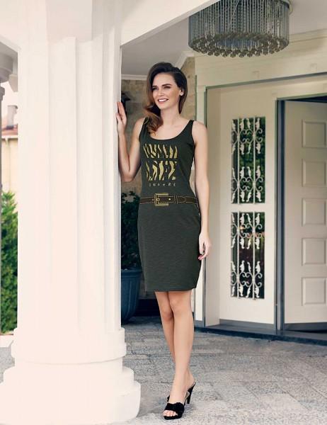 Mel Bee - Mel Bee Baskılı Elbise Yeşil MBP23304-1