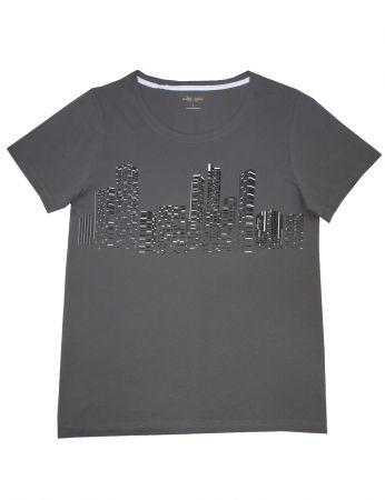 Şahinler - Mel Bee Baskılı Erkek T-Shirt GRİ D-6