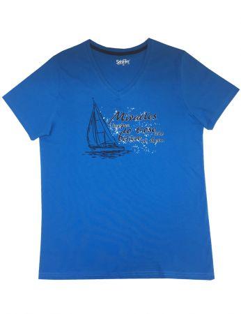 Şahinler - Mel Bee Baskılı Erkek T-Shirt Mavi D-7