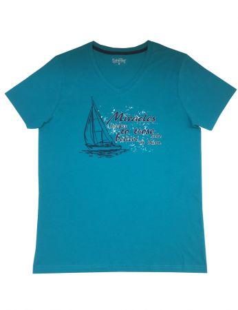 Şahinler - Mel Bee Baskılı Erkek T-Shirt Petrol D-7