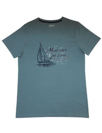 Şahinler - Mel Bee Baskılı Erkek T-Shirt Su Yeşili D-7