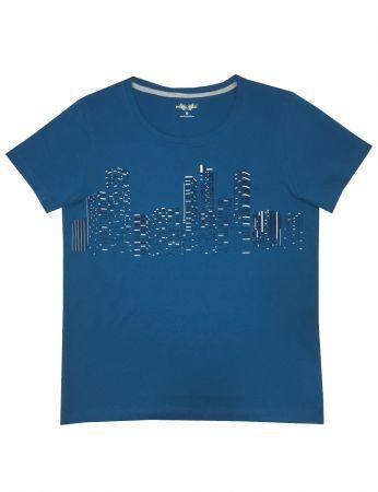 Şahinler - Mel Bee Baskılı Erkek T-Shirt Turkuaz D-6