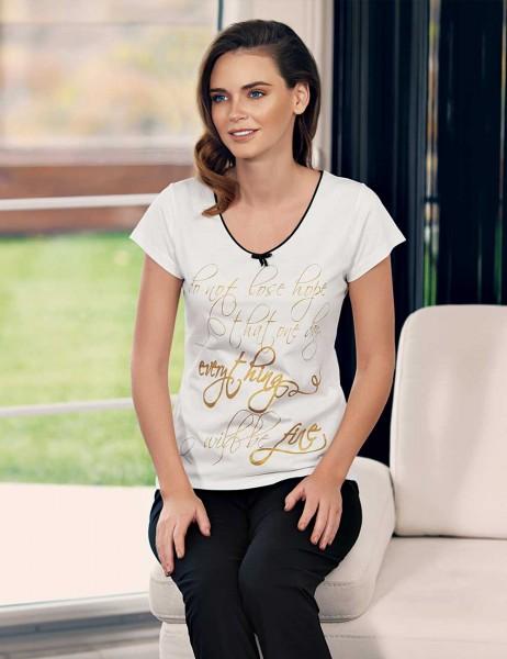 Mel Bee - Mel Bee Baskılı Kadın Pijama Takım Beyaz MBP23338-1