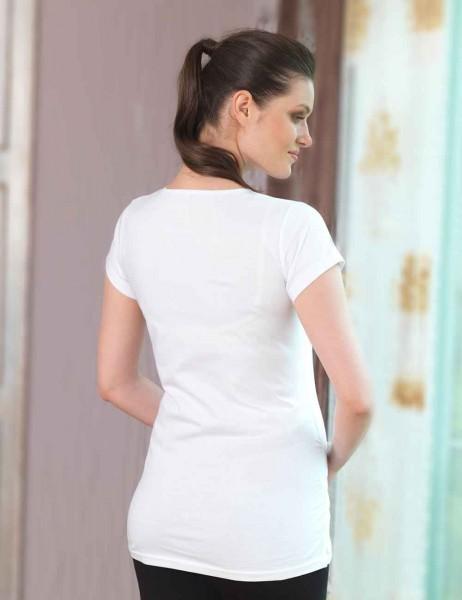 Mel Bee - Mel Bee Bebek Baskılı Lohusa T-Shirt Beyaz MB4510 (1)