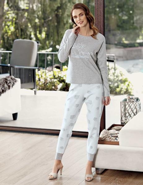Mel Bee - Mel Bee Bulut Baskılı Pijama Takımı Gri MBP23609-1