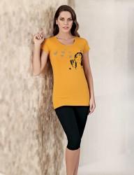 Mel Bee - Mel Bee Комплект Капри С Принтом Жёлтый MBP22708-2