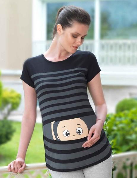 Mel Bee - Mel Bee Çizgili Baskılı Lohusa T-Shirt Siyah MB4503