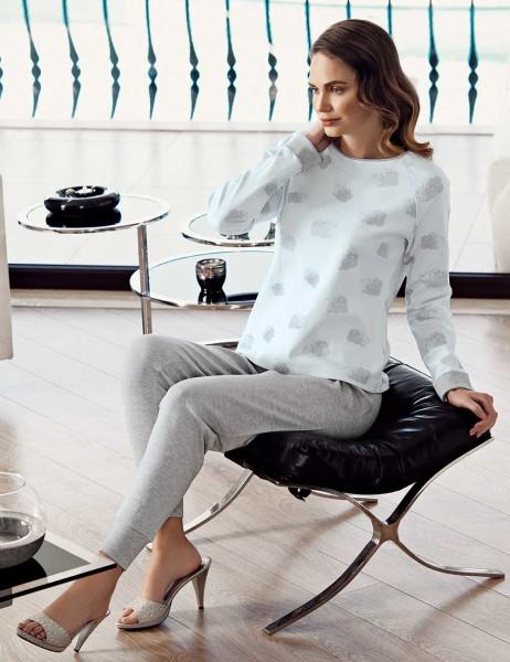 Mel Bee - Mel Bee Cloud Patterned Pajama Set Grey MBP23608-1