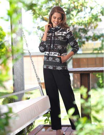 Mel Bee - Mel Bee Degaje Yaka Bayan Pijama Takımı Desenli MBP23013-1