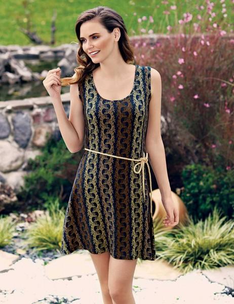 Mel Bee - Mel Bee Desenli ve Kemerli Kadın Elbise MBP23306-1