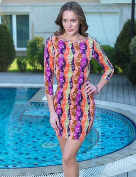 Mel Bee - Mel Bee Dress Boatneck 3/4 Sleeve Water Patterned MBP22211-1