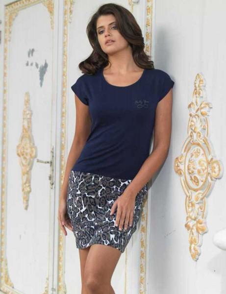 Mel Bee - Mel Bee Платье Темно-синее С Рисунком С Низким Принтом MBP22222-1