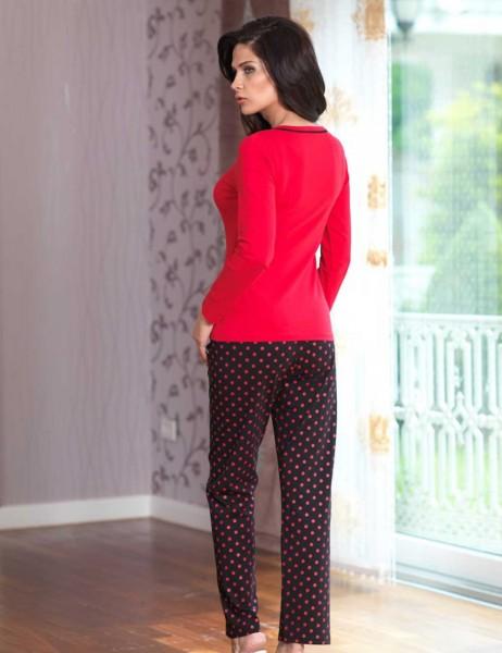 Mel Bee - Mel Bee Düğmeli Bayan Pijama Takımı Kırmızı MBP23029-1 (1)