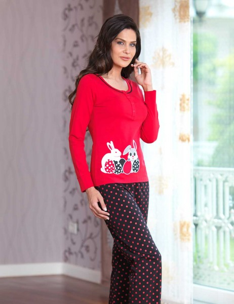 Mel Bee - Mel Bee Düğmeli Bayan Pijama Takımı Kırmızı MBP23029-1