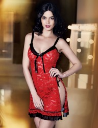 Şahinler - Mel Bee Fancy Nightgown and Gstring Set Red MB4002 (1)