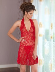 Mel Bee Fancy Nightgown Set Red MB4017 - Thumbnail