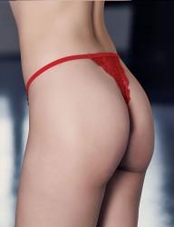 Mel Bee Стринги Красные Полностью Кружевные В Специальной Коробке MB3040 - Thumbnail