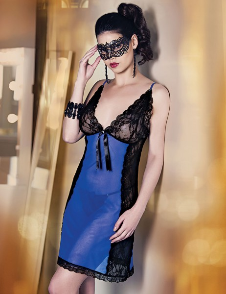 Şahinler - Mel Bee Fancy Tulle Nightgown and Gstring Set Dark Blue MB4001