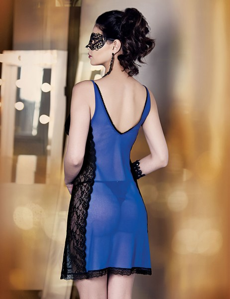 Şahinler - Mel Bee Fancy Tulle Nightgown and Gstring Set Dark Blue MB4001 (1)