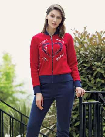 Mel Bee - Mel Bee Fermuarlı Kadın Pijama Takımı Kırmızı MBP23634-1