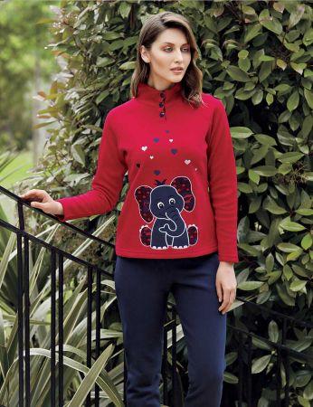Mel Bee - Mel Bee Fil Baskılı Kadın Pijama Takımı Kırmızı MBP23633-1