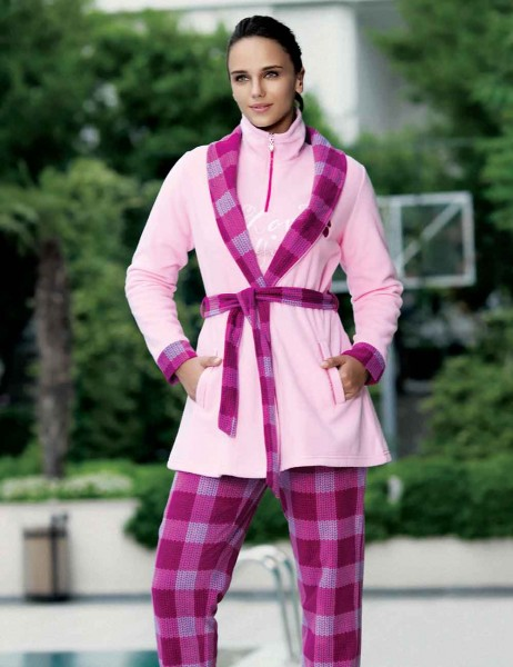 Mel Bee - Mel Bee Fleece Morning Gown Pink MBP22350-1