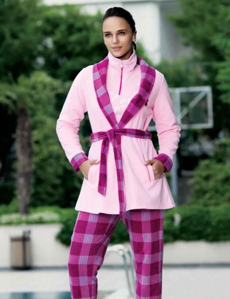 Mel Bee - Mel Bee Fleece Morning Gown Pink MBP22350-1