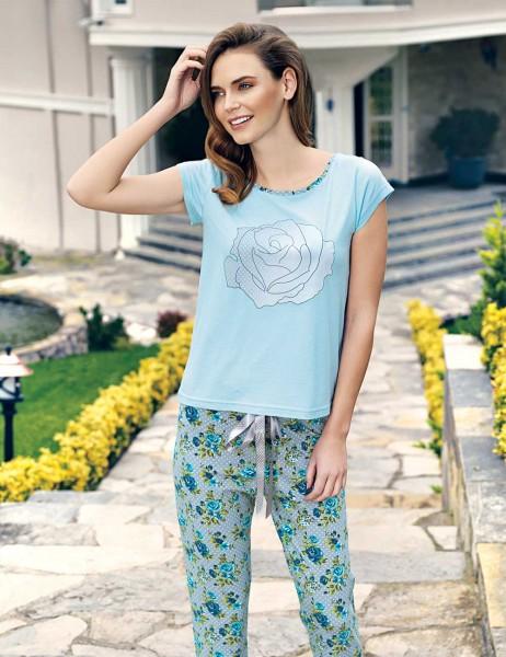 Mel Bee - Mel Bee Gül Baskılı Kadın Pijama Takımı Mavi MBP23337-1