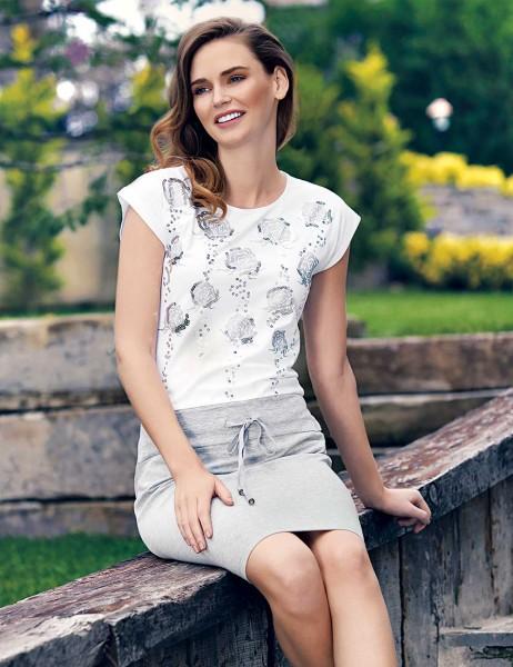 Mel Bee - Mel Bee Gül Desenli Elbise Beyaz MBP23301-1