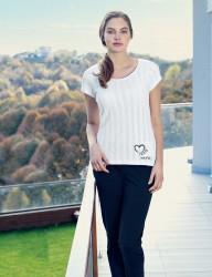 Mel Bee - Mel Bee Heart Printed Women Pajama Set White MBP23336-1