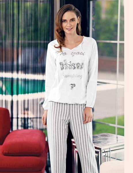 Mel Bee - Mel Bee Kadın Pijama Takımı Beyaz MBP23331-1