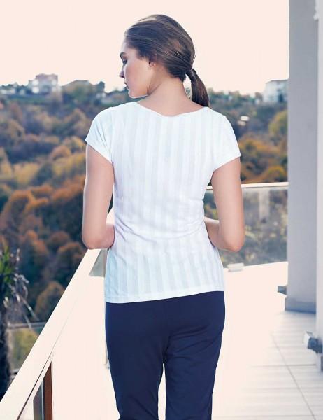 Mel Bee - Mel Bee Kalp Baskılı Kadın Pijama Takımı Beyaz MBP23336-1 (1)