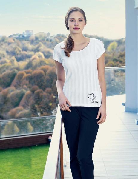 Mel Bee - Mel Bee Kalp Baskılı Kadın Pijama Takımı Beyaz MBP23336-1