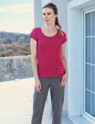 Mel Bee - Mel Bee Kalp Baskılı Kadın Pijama Takımı Vişne MBP23336-2