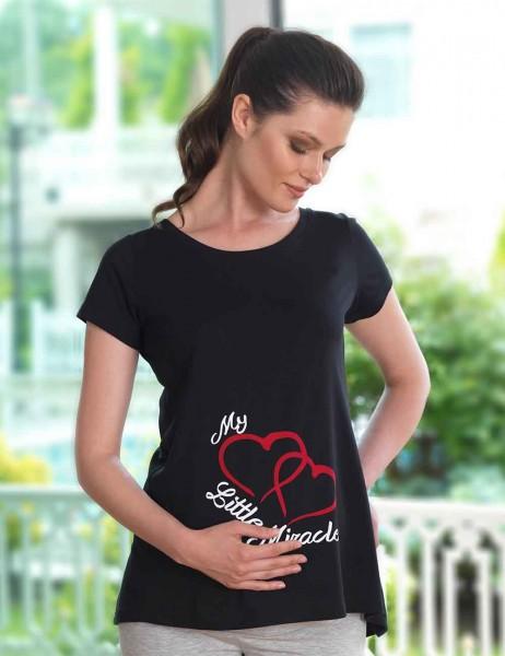 Mel Bee - Mel Bee Kalp Baskılı Lohusa T-Shirt Siyah MB4508