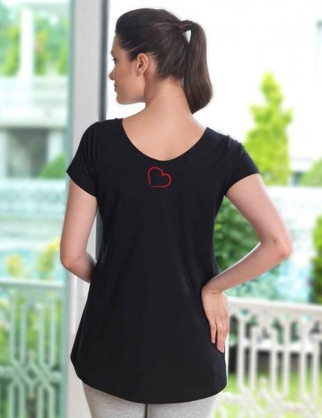 Mel Bee - Mel Bee Kalp Baskılı Lohusa T-Shirt Siyah MB4508 (1)