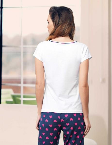 Mel Bee - Mel Bee Kalp Puantiyeli Kadın Pijama Takımı Beyaz MBP23334-1 (1)