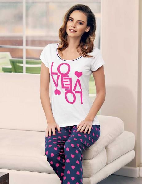 Mel Bee - Mel Bee Kalp Puantiyeli Kadın Pijama Takımı Beyaz MBP23334-1