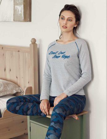 Mel Bee - Mel Bee Kamuflaj Kadın Pijama Takımı Gri MBP23614-1