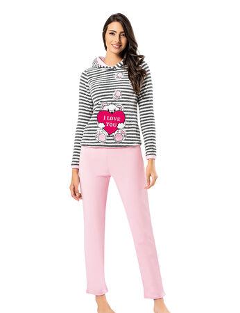 Mel Bee Kapşonlu Peluş Pijama Takımı Çizgili MBP23622-1